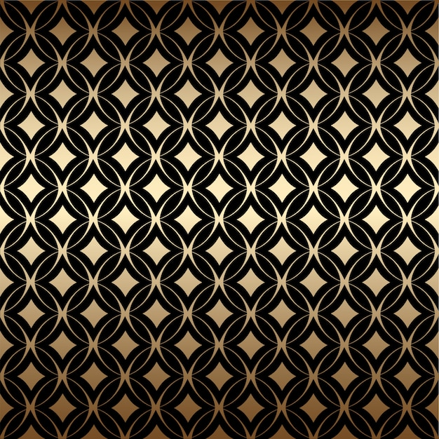 Geometric golden art deco simple seamless pattern with round shapes, black and gold colors