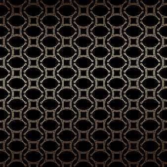 Geometric golden and black linear seamless simple pattern background, art deco style