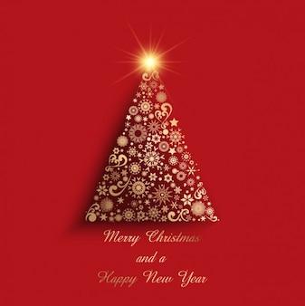 Геометрическая золотой рождественская елка на красном фоне