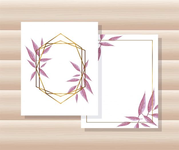 기하학적 인 골든 라인 프레임, 잎을 가진 카드