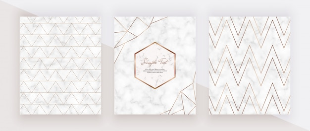 Geometric golden lines on the marble texture. cover design with marble frames, golden chevron lines.