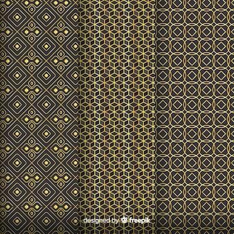 幾何学的な黄金の豪華なパターンを組み立てる