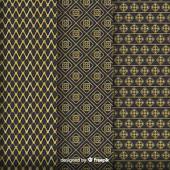 Geometric golden luxury pattern collection