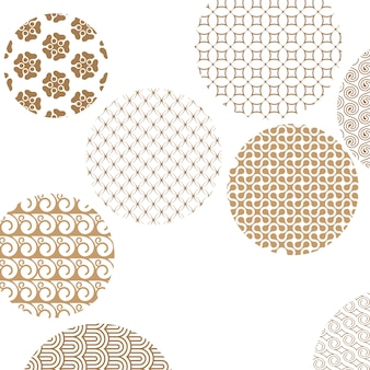Geometric golden patterns formed circles on white with clipping mask