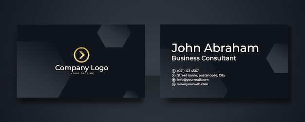 Geometric golden premium business card template. luxury black and gold business card design template with gold art deco geometric lines.