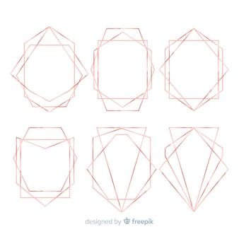 Collezione geometrica cornice dorata rosa