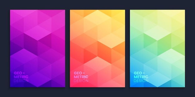 Geometric gradient background collection with cubes