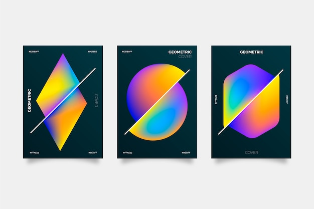 Geometric gradient covers on dark background