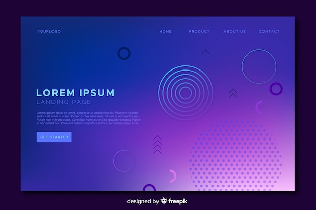 Geometric gradient landing page template