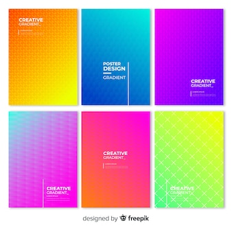 Geometric gradient poster collection