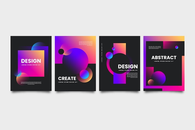 Geometric gradient shapes covers on dark background
