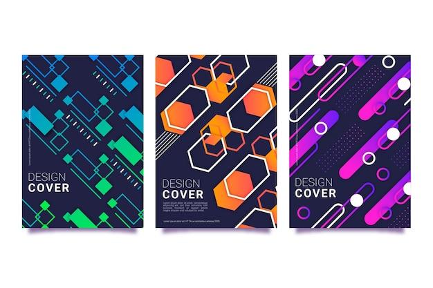 Geometric gradient shapes covers on dark wallpaper