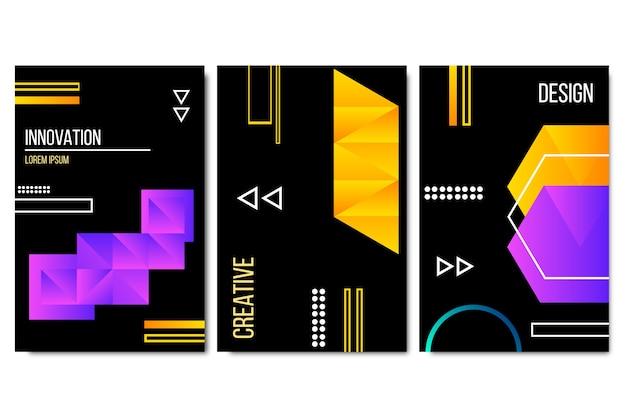 Геометрические формы градиента обложки на темном фоне стиля