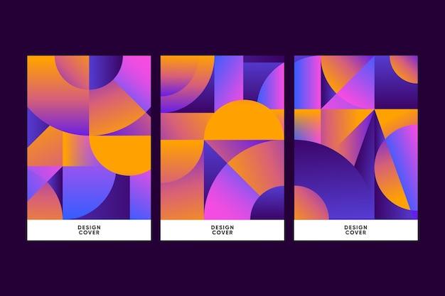 Геометрические формы градиента обложки на темном фоне темы
