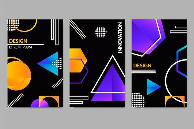 Геометрические формы градиента обложки на темном фоне