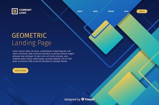 Geometric gradient shapes landing page template