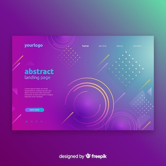 Geometric gradient shapes landing pages