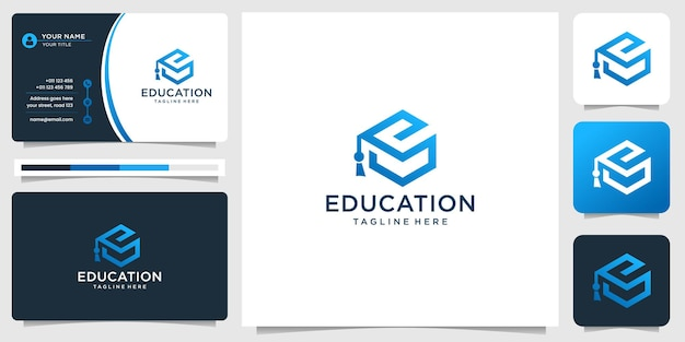 Geometric graduate education hat logo and business card design inspiration.