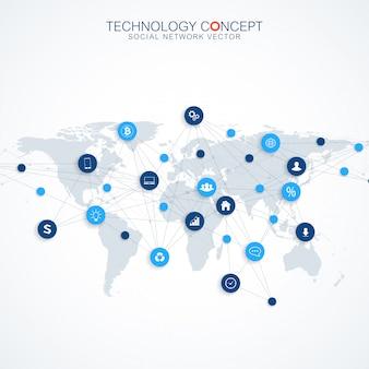 Геометрический графический фон связи. концепция облачных вычислений и глобальных сетевых подключений. большой комплекс данных с соединениями. визуализация цифровых данных. научная кибернетика.