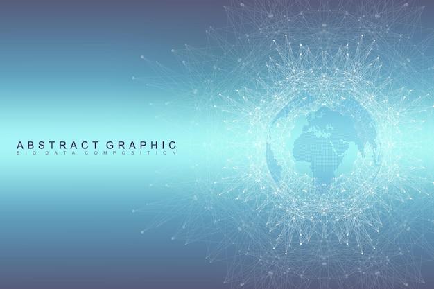 기하학적 그래픽 배경 통신입니다. 글로벌 네트워크 연결. 컴파운드가 있는 와이어프레임 컴플렉스. 관점 배경입니다. 디지털 데이터 시각화. 과학 사이버네틱 벡터입니다.
