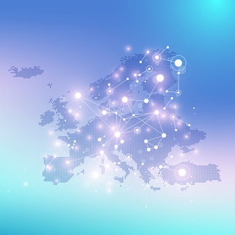 Geometric graphic background communication with europe map. big data complex with compounds. perspective backdrop. minimal array. digital data visualization. scientific cybernetic illustration.