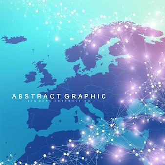 ヨーロッパ地図との幾何学的なグラフィック背景通信。化合物とのビッグデータ複合体。視点の背景。最小限の配列。デジタルデータの視覚化。科学的なサイバネティックベクトルの図。