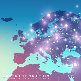 Связь геометрического графического фона с картой европы. комплекс больших данных с соединениями.