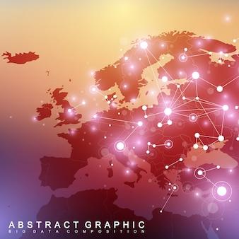 Геометрический графический фон связи с картой европы