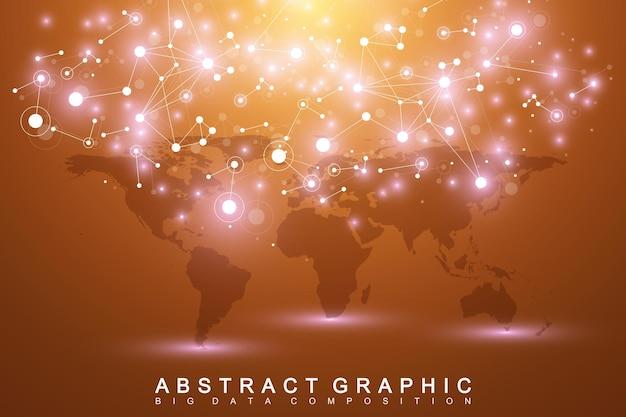 정치 세계 지도와 기하학적 그래픽 배경 통신. 화합물로 복잡한 빅 데이터. 원근 최소 배열입니다. 디지털 데이터 시각화. 과학 사이버네틱 벡터 일러스트 레이 션.