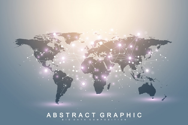 Geometric graphic background communication with world map. big data complex with compounds. perspective backdrop. minimal array. digital data visualization. scientific cybernetic illustration.