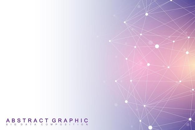 기하학적 그래픽 배경입니다. 디지털 데이터 시각화.