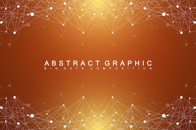 幾何学的なグラフィック背景分子とコミュニケーション。化合物を含むビッグデータ。デジタルデータの視覚化。科学的なサイバネティックイラスト。