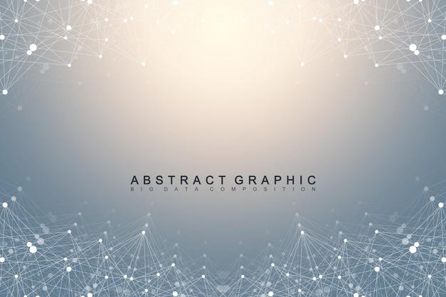 幾何学的なグラフィック背景分子とコミュニケーション。化合物を含むビッグデータ複合体。遠近法の背景。最小配列。デジタルデータの視覚化。科学的なサイバネティックイラスト。