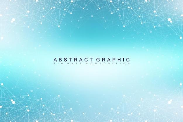기하학적 그래픽 배경 분자 및 통신입니다. 화합물로 복잡한 빅 데이터. 관점 배경입니다. 최소 배열. 디지털 데이터 시각화. 과학 사이버네틱 벡터 일러스트 레이 션.