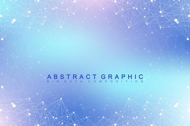 幾何学的なグラフィック背景分子とコミュニケーション。化合物とのビッグデータ複合体。視点の背景。最小限の配列。デジタルデータの視覚化。科学的なサイバネティックベクトルの図。