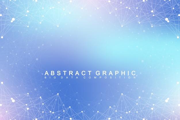 幾何学的なグラフィック背景分子とコミュニケーション。化合物とのビッグデータコンプレックスデジタルデータの視覚化科学的なサイバネティックイラスト。
