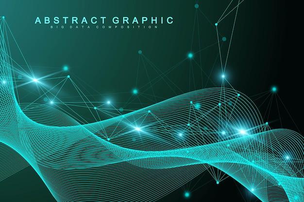 기하학적 그래픽 배경 분자 및 통신입니다. 점으로 연결된 선. 미니멀리즘 혼란 그림 배경입니다. 과학, 화학, 생물학, 의학, 기술, 벡터의 개념