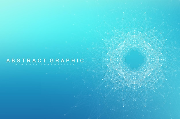 기하학적 그래픽 배경 분자 및 통신