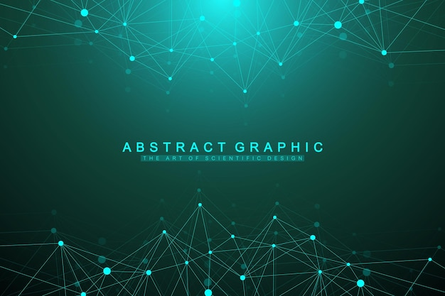 Geometric graphic background molecule and communication. big data complex with compounds. artificial intelligence and machine learning concept. scientific cybernetic vector illustration.