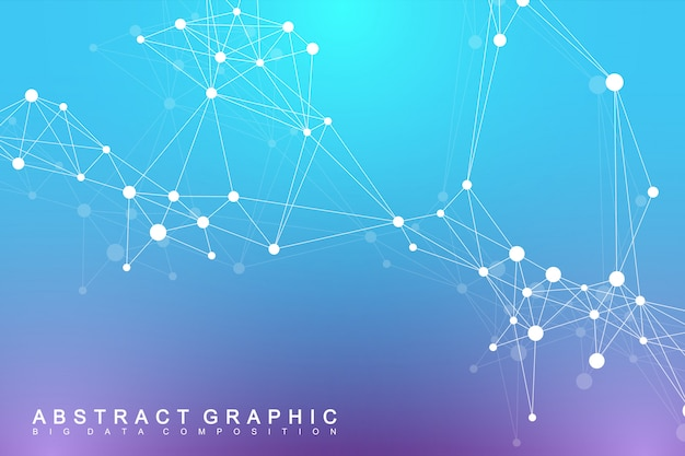 Geometric graphic background molecule and communication. big data complex with compounds. digital data visualization. scientific cybernetic illustration.