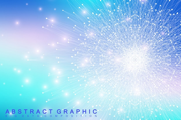 Geometric graphic background molecule and communication. big data complex with compounds. perspective backdrop. minimal array big data. digital data visualization. scientific illustration.