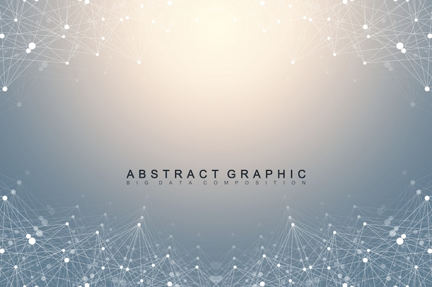 Geometric graphic background molecule and communication. big data complex with compounds. perspective backdrop. minimal array. digital data visualization. scientific cybernetic illustration.