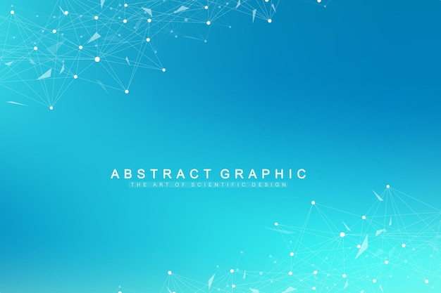 Geometric graphic background molecule and communication. big data complex with compounds