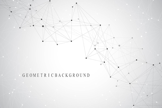 Geometric graphic background molecule and communication. connected lines with dots. minimalism chaotic illustration background. concept of the science, chemistry, biology, medicine, technology, vector