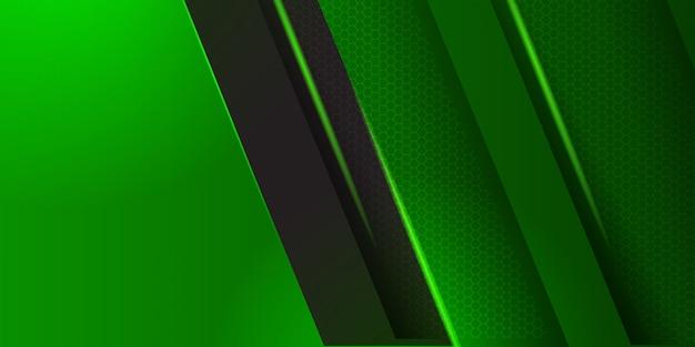 ストライプの背景を持つ幾何学的な緑の素材