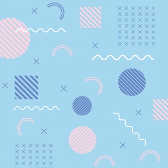 Geometric halftone shapes memphis 80s 90s style abstract blue