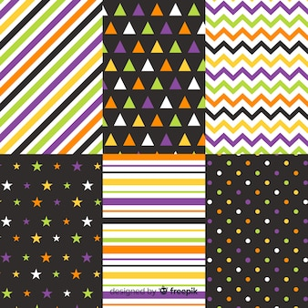 Geometric halloween lines and dots collection