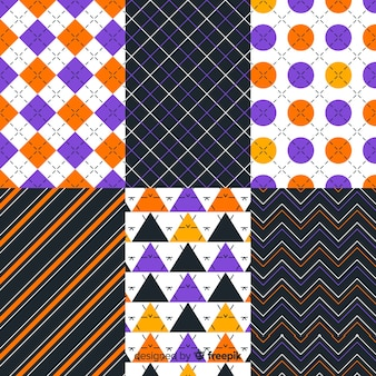 Geometric halloween pattern collection in rectangle sections