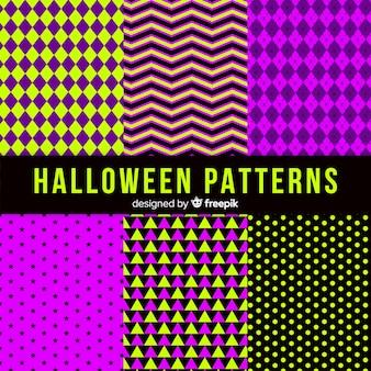 Geometric halloween pattern collection
