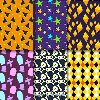 Geometric halloween pattern collection